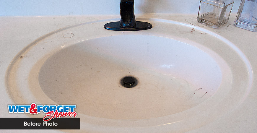 Bathroom Sink Cleaned With Wet U0026 Forget Shower