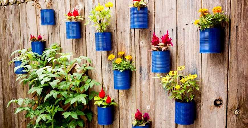 Tin Can Vertical Flower Garden