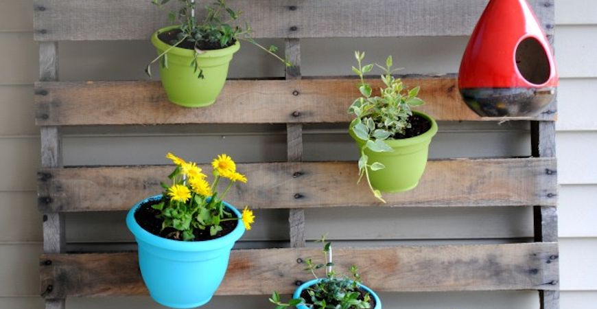 upcycled vertical pallet garden