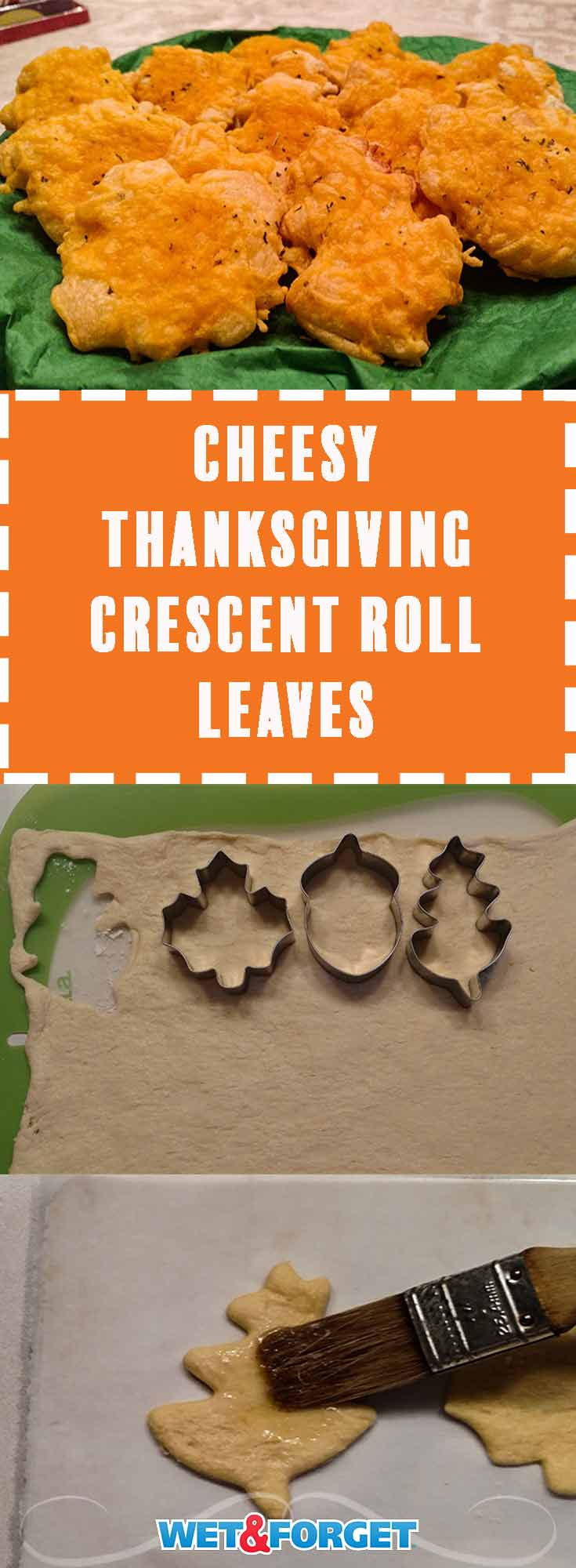 This quick cheesy crescent roll leaves recipe will make a great appetizer at your Thanksgiving or Friendsgiving dinner!