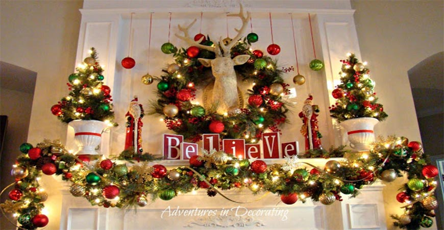 DIY colorful Christmas Mantel Decorations