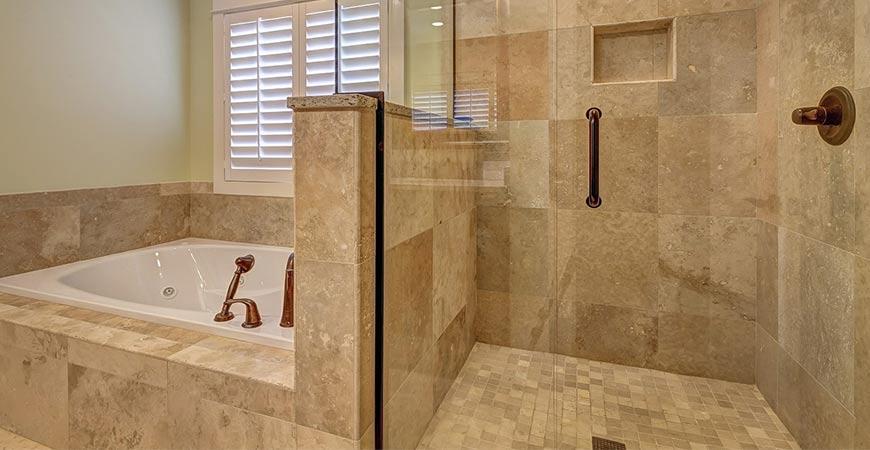 Sparkling clean bathtub and shower