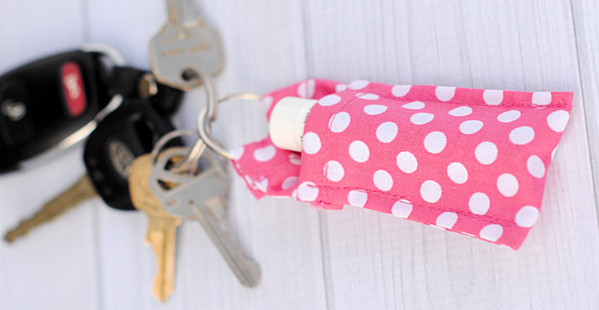 DIY handsewed keychain chapstick holder