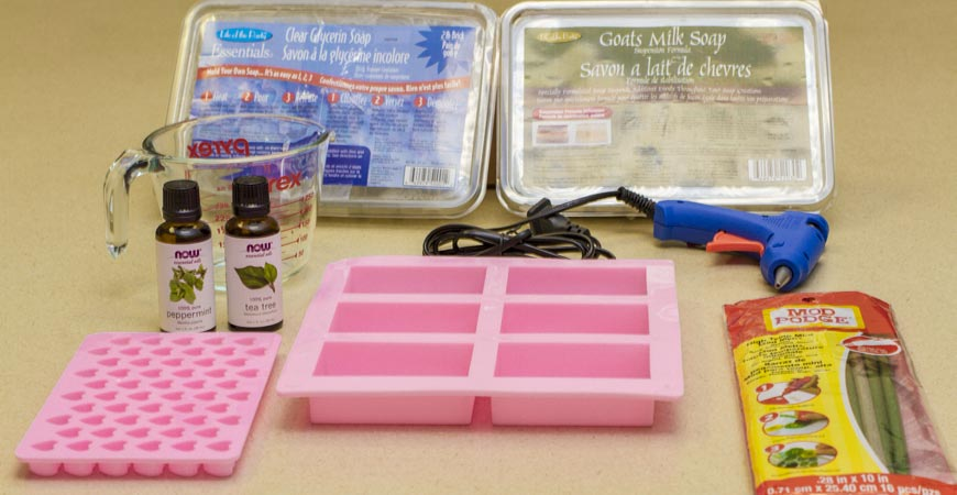 Prepare your materials for your DIY Valentine's Day Soap