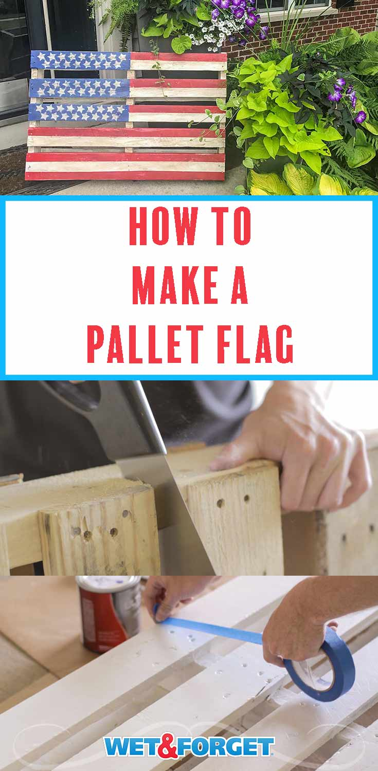 Follow our step by step tutorial to make a pallet flag for the upcoming patriotic holidays!