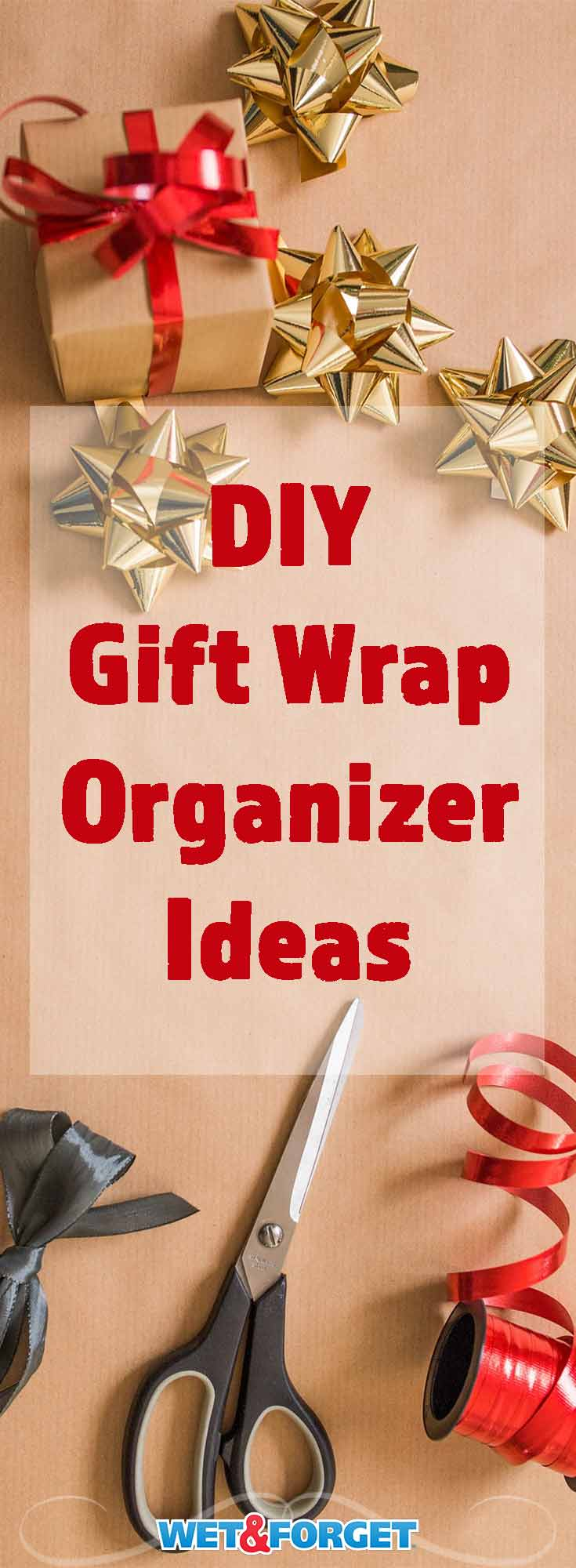 Organize your gift wrap, bags, ribbons and more with these easy DIY ideas!