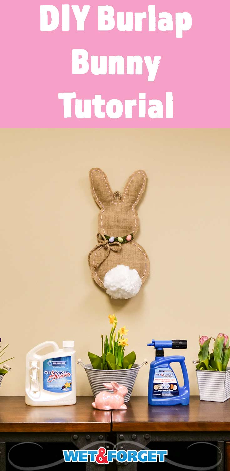 Give your home a farmhouse Easter look with this DIY burlap bunny! Use our step by step guide to create and decorate a burlap bunny.