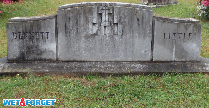 Headstones get covered in black stains quickly.