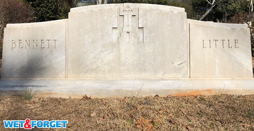 Wet & Forget cleans headstones safely