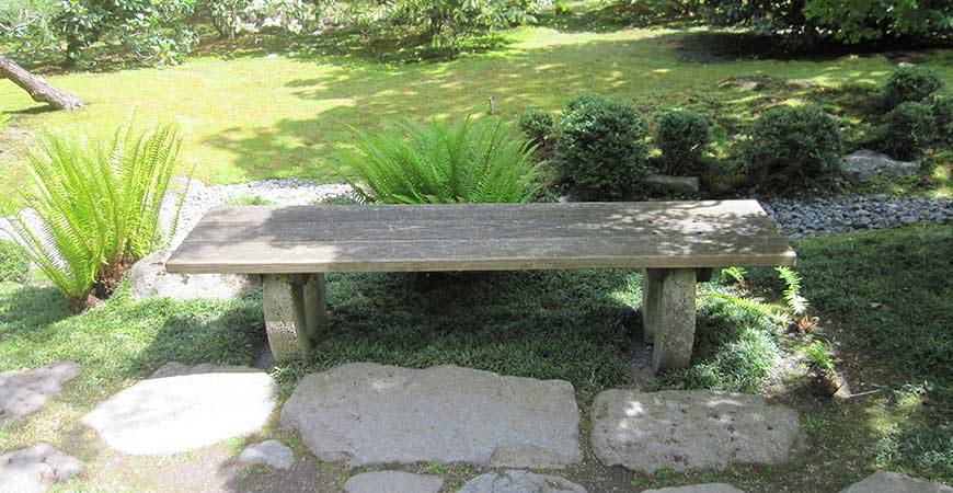 backyard wooden bench