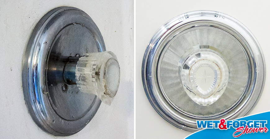 clean shower fixtures with wet forget