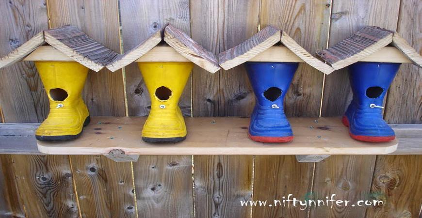 Rain-boot-birdhouses
