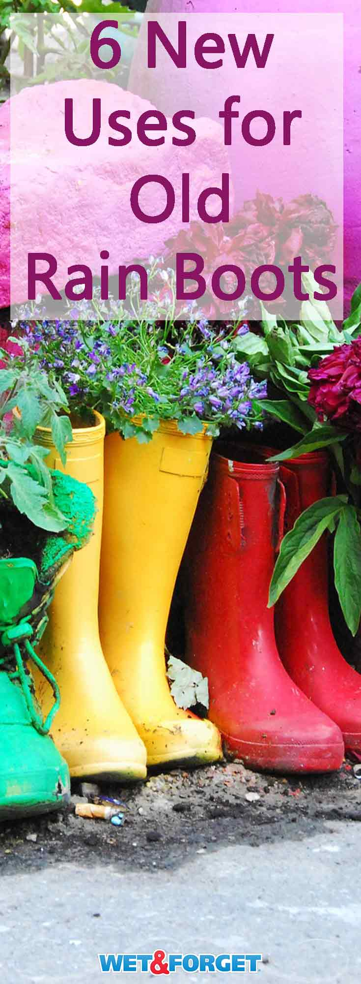Have an old pair of rain boots laying around? Reuse them with these DIY rain boot ideas!