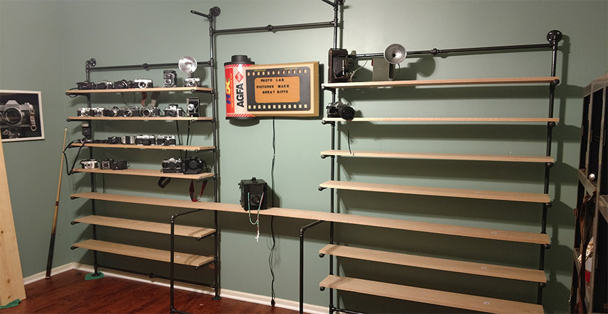Completed Pipe Shelves Against Wall