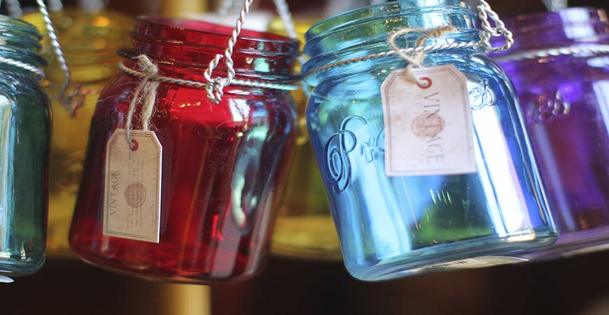 Colorful mason jars are perfect for indoor water gardens