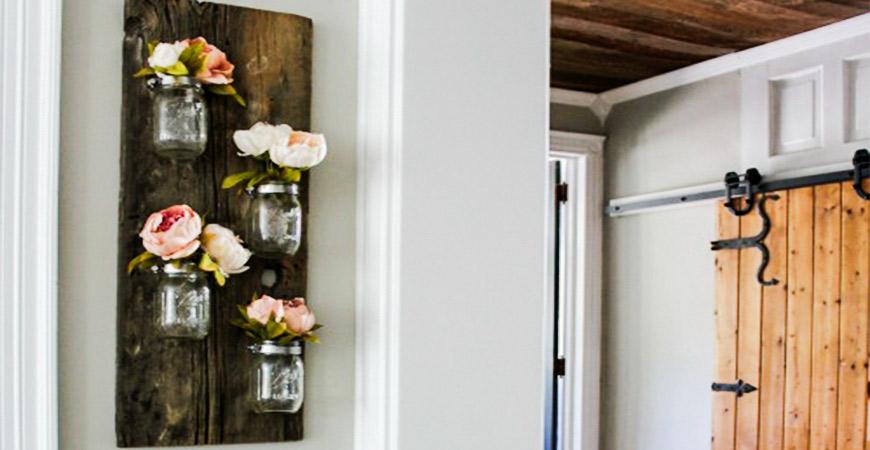 DIY mason jar attatched to wood wall decor
