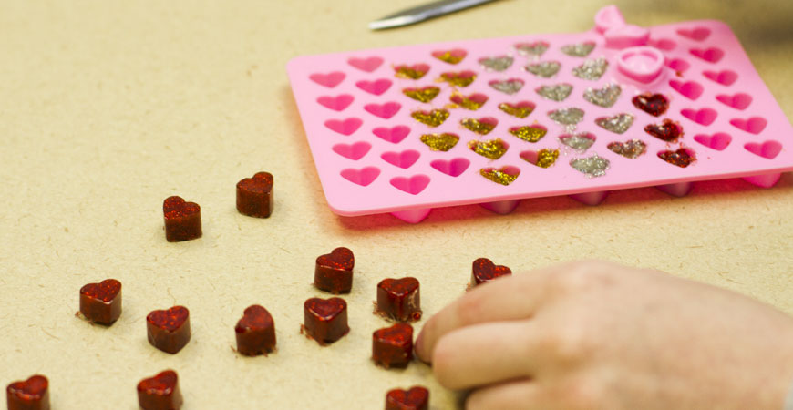 Easily pop out the plastic hearts from your mold.