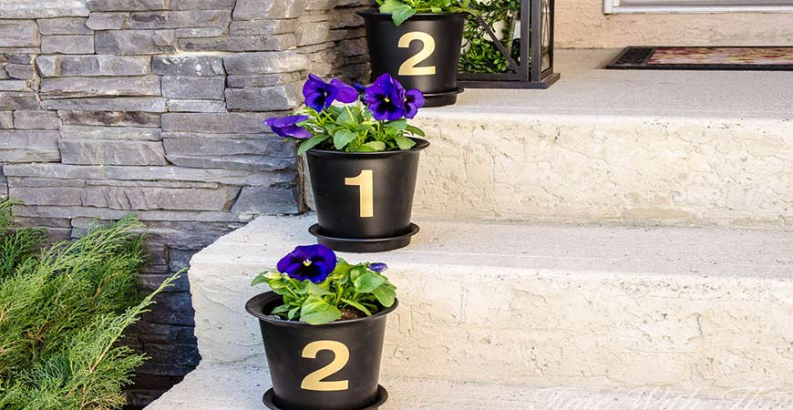 flower pot diy house numbers