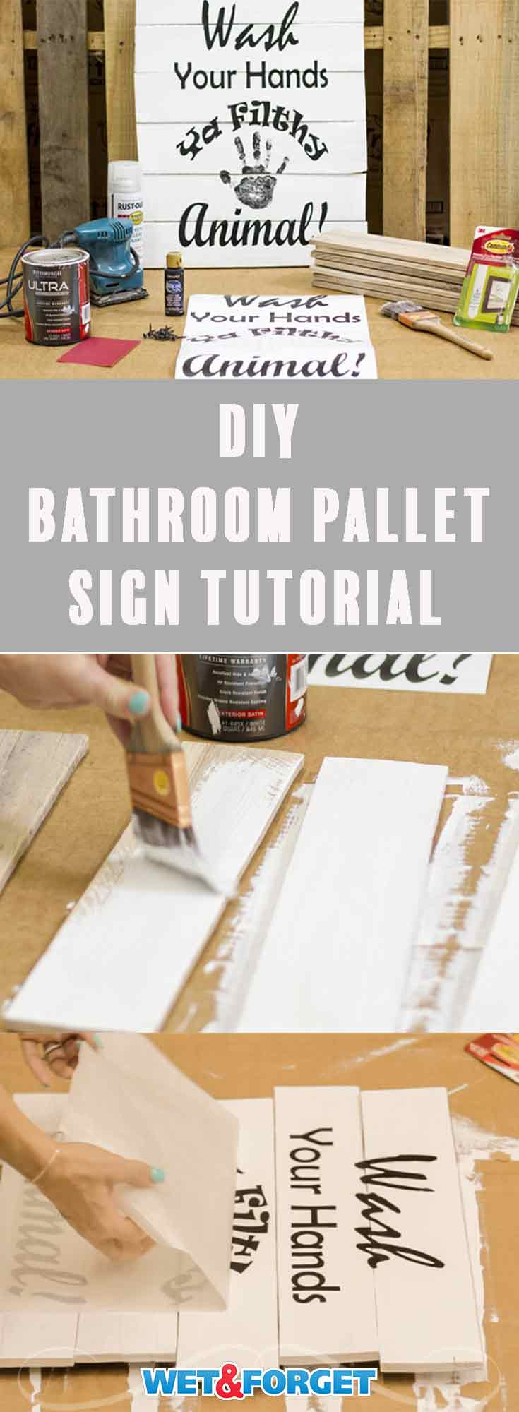 Learn how to make this nifty bathroom pallet sign with our quick tutorial! (We even included a free downloadable template!)