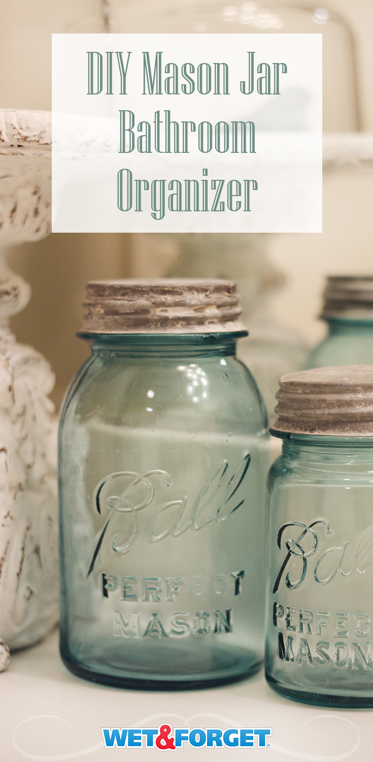 Keep the clutter off your bathroom counter with this DIY Mason Jar storage idea!