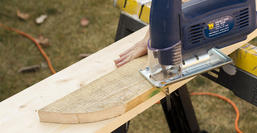 Use the jigsaw to cut backing boards.