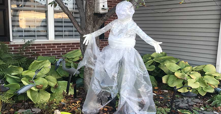 Hang your packing tape ghost from a tree branch