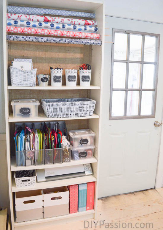 Organize your giftwrap in a bookcase!