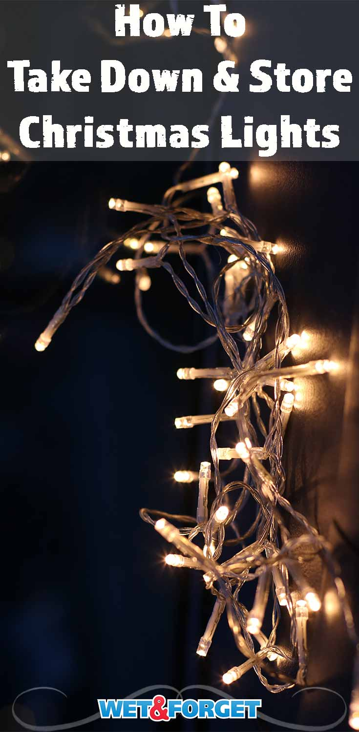 Use this hassle free method to take down your Christmas lights and store them!