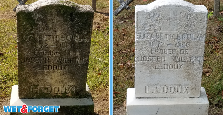 After applying Wet & Forget, the rain and wind gently remove dead growth off of headstones.