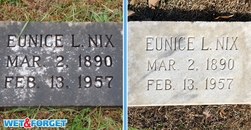 Black stains come off headstones without scrubbing.