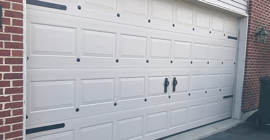 Garage door before applying gel stain