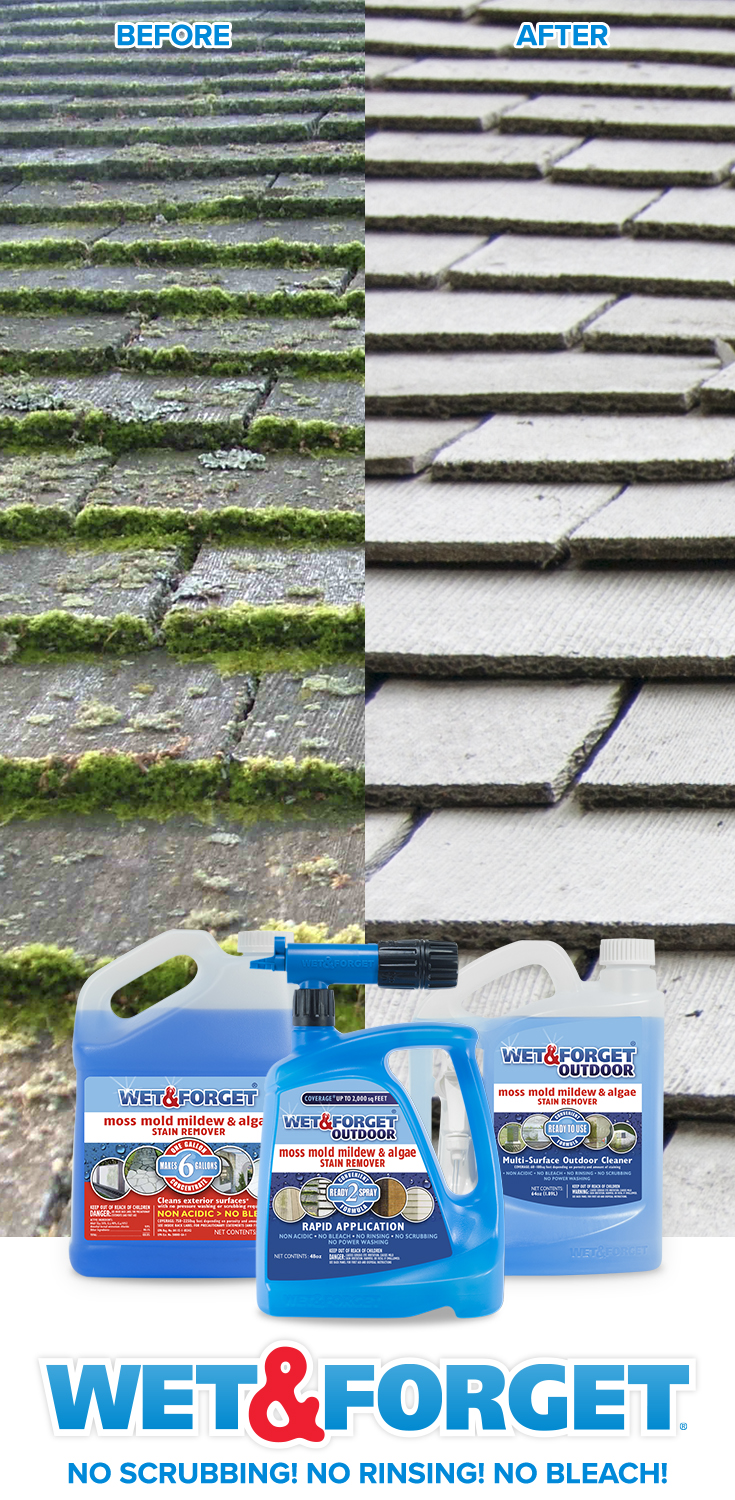 Clean up roof moss with your feet firmly planted on the ground! The new Wet & Forget Hose End product can reach up to 30 feet high. Simply spray Wet & Forget, and let Mother Nature do the work for you!